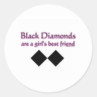 Black diamonds are a girls best friend round stickers