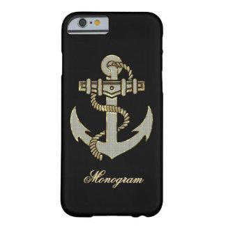 Black Diamonds & Gold Pattern Boat Anchor-Monogram iPhone 6 Case