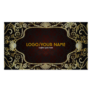 Black Diamonds& Gold Pattern Vintage Floral Frame Double-Sided Standard Business Cards (Pack Of 100)