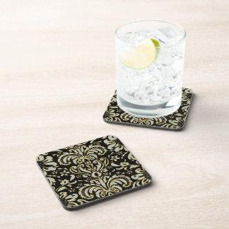 Black Diamonds & Gold Tones Vintage Floral Damask Beverage Coaster