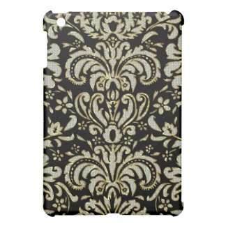 Black Diamonds & Gold Tones Vintage Floral Damask Case For The iPad Mini