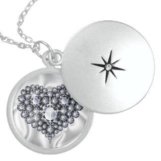Black Diamonds Jeweled Heart Sterling Silver Locke Round Locket Necklace