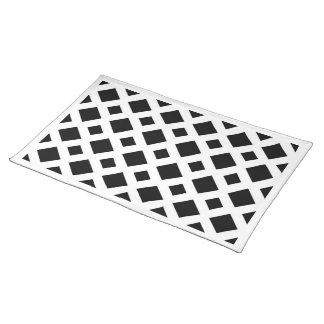 Black Diamonds on White Cloth Placemat