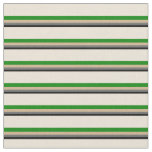 [ Thumbnail: Black, Dim Gray, Tan, Green, and Bisque Lines Fabric ]