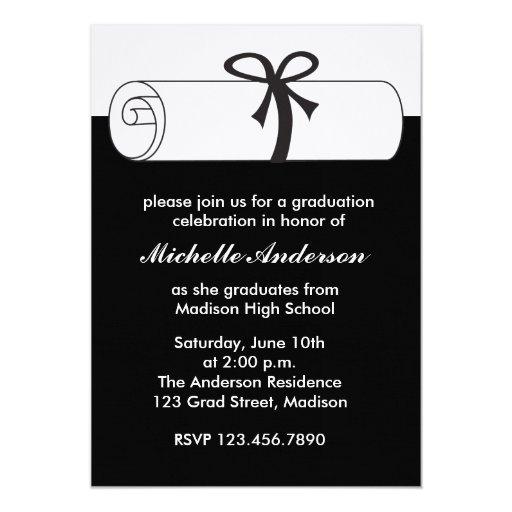 Black Diploma Graduation Celebration Invitations