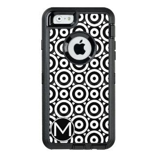 Black Disc Monogram OtterBox Defender iPhone Case