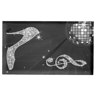 black disco ball and stiletto table card holder