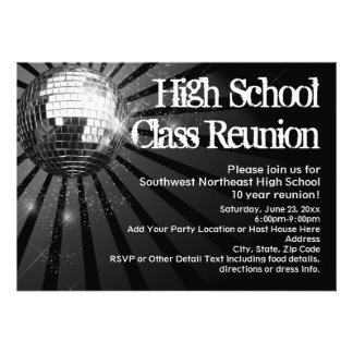 Black Disco Ball Class Reunion Invitations