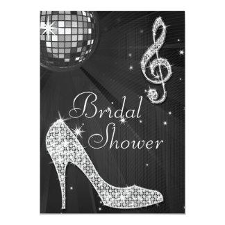 Black Disco Ball & Sparkle Heels Bridal Shower Card