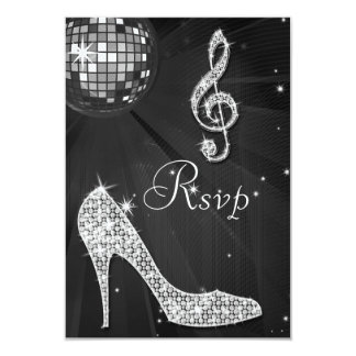 Black Disco Ball Sparkle Heels RSVP 3.5x5 Paper Invitation Card