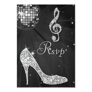 Black Disco Ball Sparkle Heels RSVP 3.5x5 Paper Invitation Card