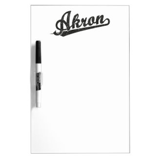 Black Distressed Akron Script Logo Dry-Erase Board
