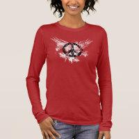 Black Distressed Peace Symbol WhiteSplatter wings Long Sleeve T-Shirt