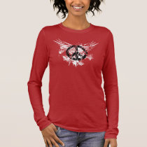 Black Distressed Peace Symbol WhiteSplatter wings Long Sleeve T-Shirt