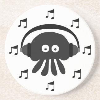 Black DJ Jellyfish, Headphones & Musical Notes Drink Coaster