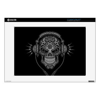 "Black DJ Sugar Skull Decals For 15"" Laptops"