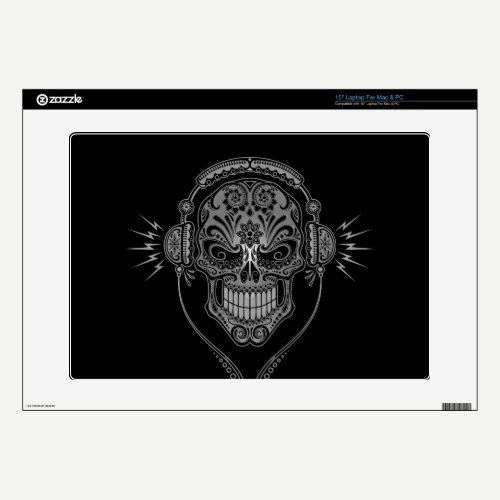 "Black DJ Sugar Skull Decals For 15"" Laptops"