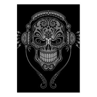 Black DJ Sugar Skull Large Business Card