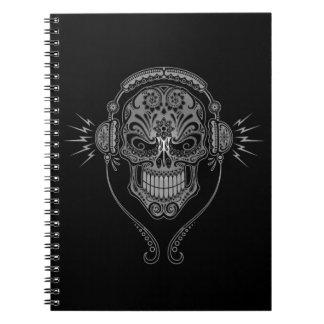 Black DJ Sugar Skull Notebook