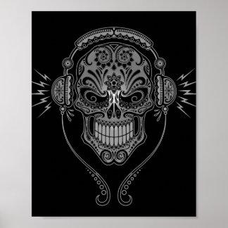 Black DJ Sugar Skull Print