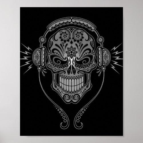 Black DJ Sugar Skull Poster
