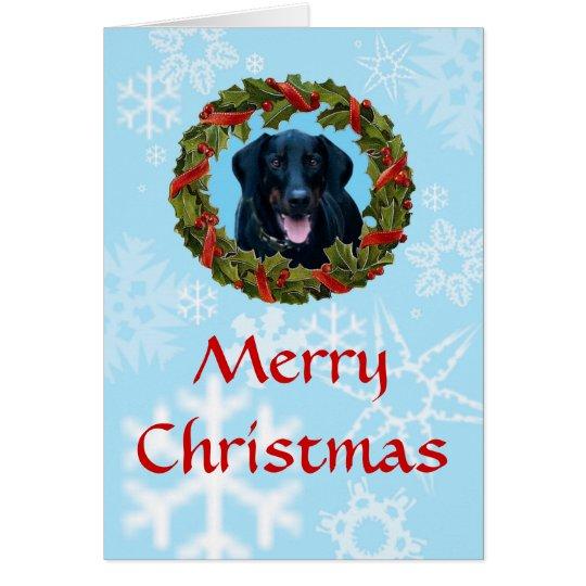 Black Doberman Christmas Card with wreath and snow