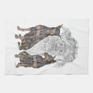 Black Doberman Dogs Hand Towels
