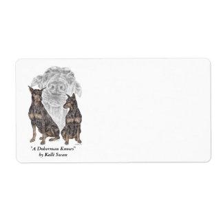 Black Doberman Dogs Shipping Label
