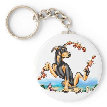 Beach Themed Black Doberman Pinscher Kinda Crabby Keychains