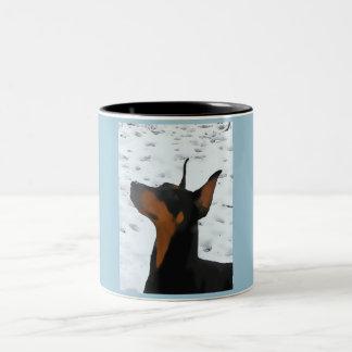 Black Doberman Potrait (v9-3) Two-Tone Coffee Mug