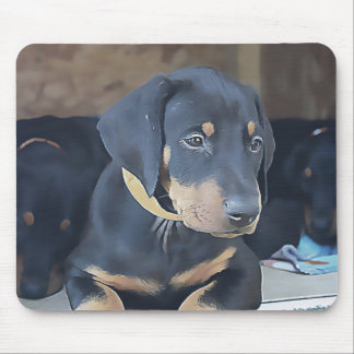 Black Doberman puppy (v11-1) Mouse Pad