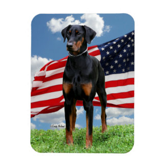 Black Dobermann with natural ears and flag Magnet. Rectangular Photo Magnet