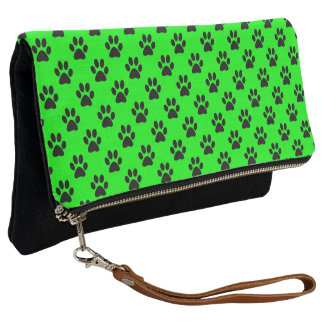 Black Dog Cat Paw Prints on Lime Green Clutch