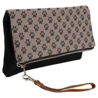 Black Dog Cat Paw Prints on Taupe Brown Clutch