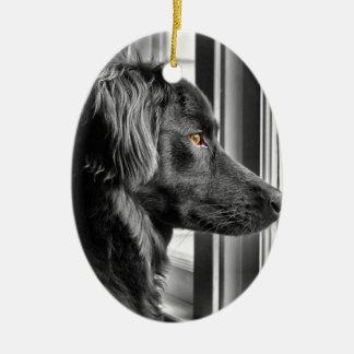 Black dog ceramic ornament