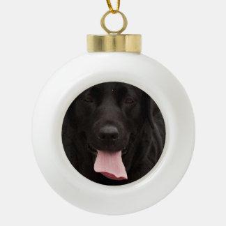 Black dog face ceramic ball christmas ornament