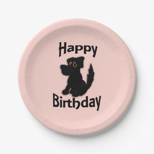 Black Dog Happy Birthday Pink 7 Inch Paper Plate