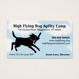 Black Dog Jumping Through A Cloudy Sky - Labrador Business Card