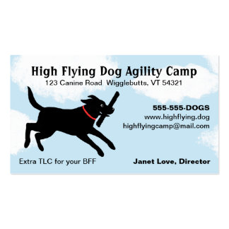 Black Dog Jumping Through A Cloudy Sky - Labrador Double-Sided Standard Business Cards (Pack Of 100)