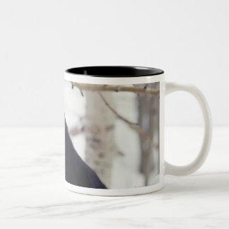Black dog lying in snow Two-Tone coffee mug