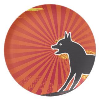 Black Dog Melamine Plate