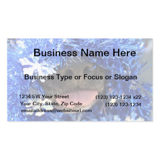 Black dog nose tongue out blue tinsel business card