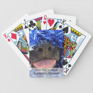 Black dog nose tongue out blue tinsel card decks