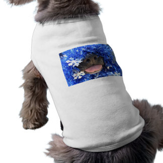 Black dog nose tongue out blue tinsel doggie tshirt