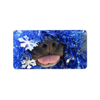 Black dog nose tongue out blue tinsel labels