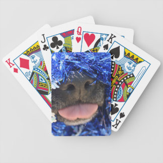 Black dog nose tongue out blue tinsel bicycle poker deck
