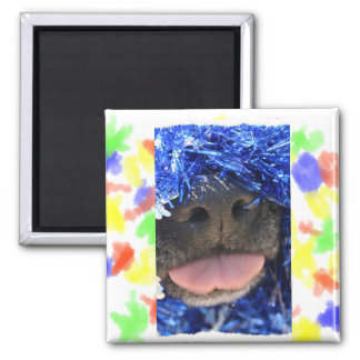 Black Dog Nose with Blue Tinsel Tongue Out Magnet