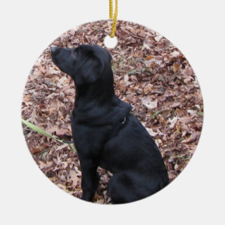 Black Dog Ornament with Greeting
