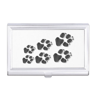 Black dog paw business card case