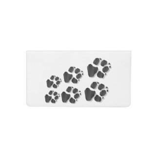 Black dog paw checkbook cover